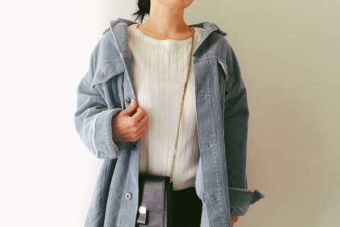 ZARAのコーデュロイジャケットが今旬! くすみブルーでパリジェンヌ風