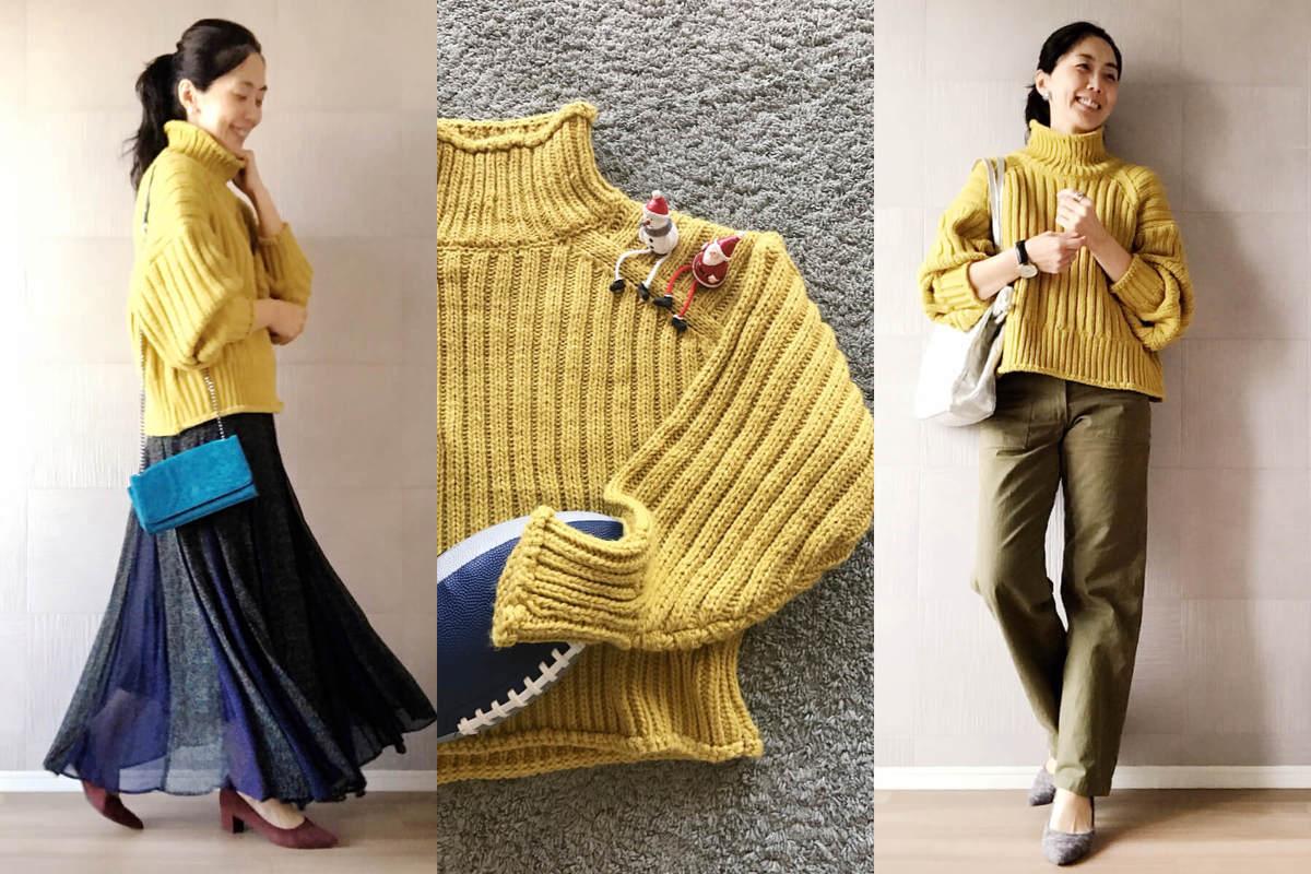 H&Mのイエローニット3999円。大人女性こそカラーアイテムに挑戦を!