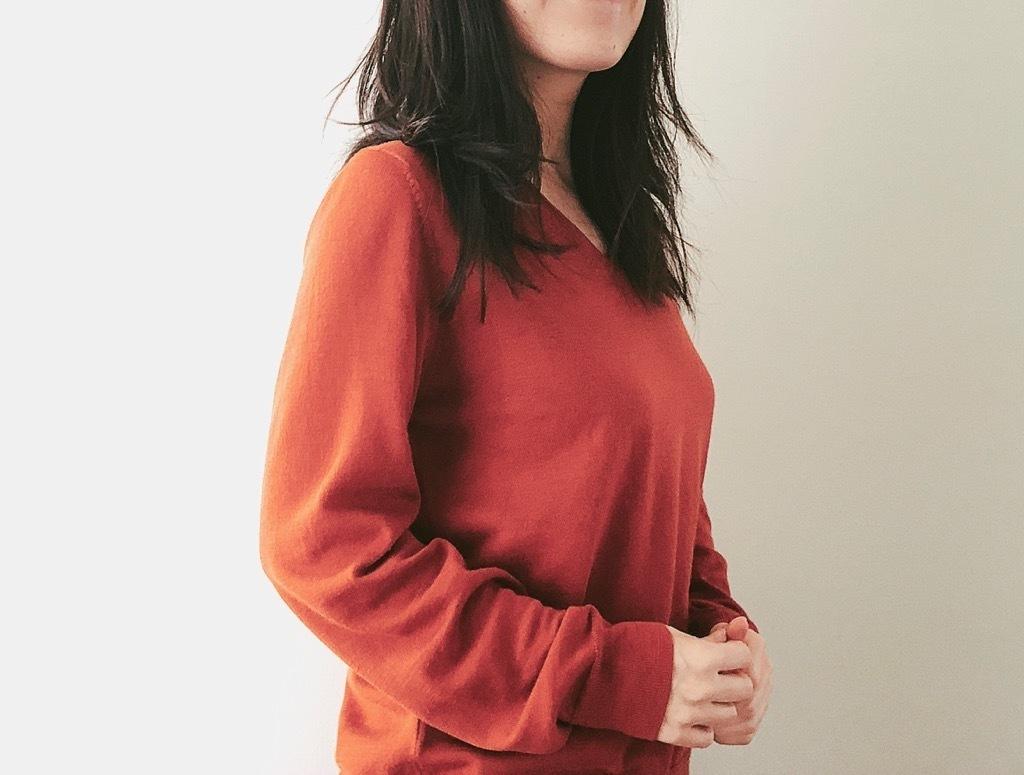 2020年、無印良品の上品セーターを指名買い! きれい色で楽しむ初詣コーデ
