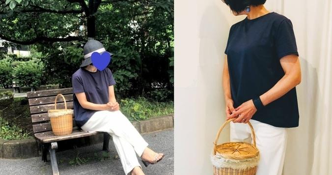 40代女性におすすめ。手抜きに見えない! 夏のかごバッグコーデ