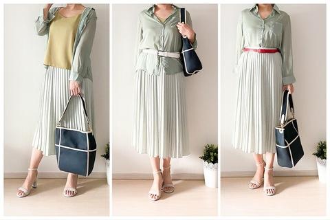 【UNIQLO】シアーシャツ×プリーツスカートでトレンドライクに! 40代女性におすすめなすっきり垢抜けコーデ