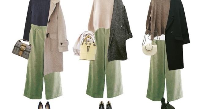 【しまむらコラボ】冬コーデを盛り上げる! 今旬グリーンのワイドパンツの着こなし