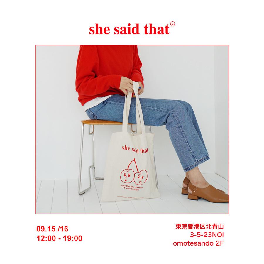 韓国の人気ブランド「She said that」が日本初のPOP UPを開催