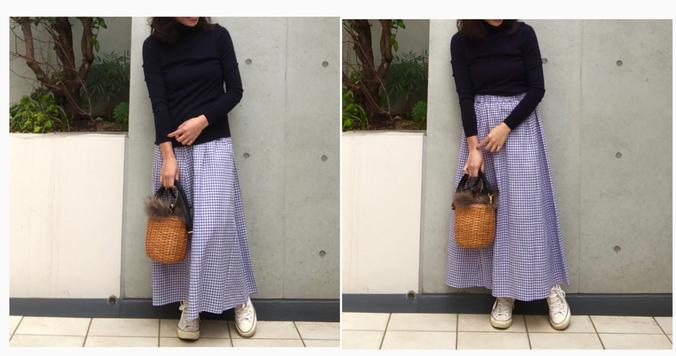 GUギンガム柄ロングスカートが上品見え。1990円なんて信じられない