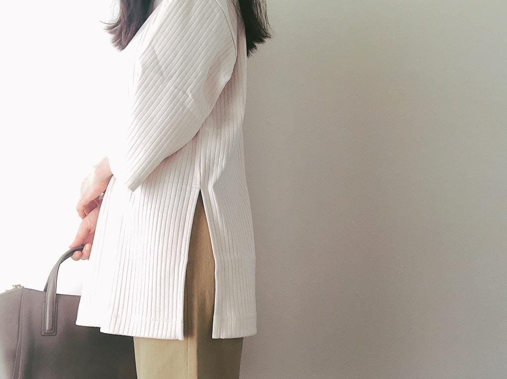 UNIQLOのリブチュニック1500円が優秀! 大人の同系色ブレンドコーデ