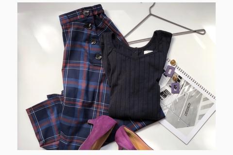 GUチェックフレアスカート1990円が買い! 秋配色で一気にトレンド感