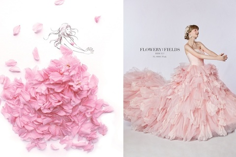 花を全身にまとう夢のウエディングドレスが誕生!