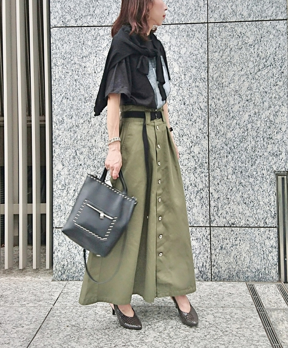 フォトプリント マキシ丈スカート