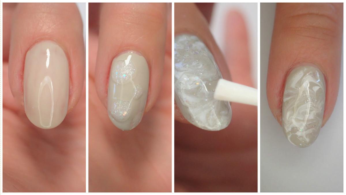 (3)ホワイトの筆でカラーを落としつつ、爪にS字を描くようにマーブル模様を作る