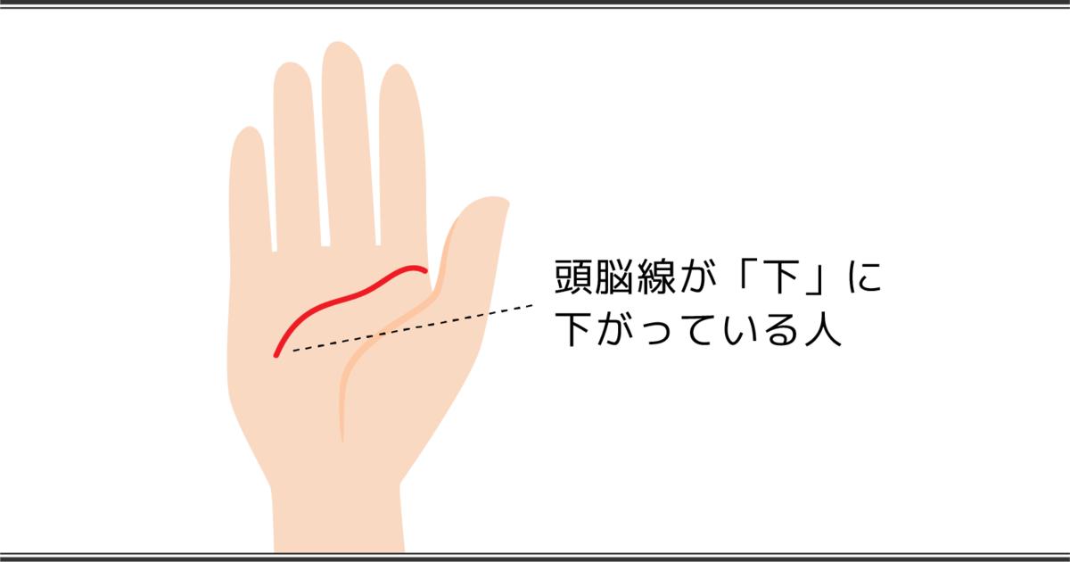 頭脳線が下がっている人の手相